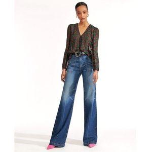 Veronica Beard Crosbie High Rise Wide Leg Jeans